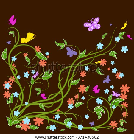 Colored butterflies and flowers with abstract swirls on a brown background. Can be used as a background, decor, decoupage, textile, invitation. - stock vector