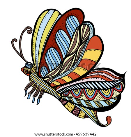 Colored butterfly sketch. Hand drawn vector illustration. Isolated on white