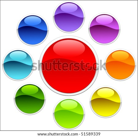 Colored buttons - stock vector