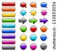colored buttons in the shapes of rounded rectangle, circle, star, arrow and bubble speech - stock photo