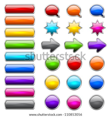 colored buttons in the shapes of rounded rectangle, circle, star, arrow and bubble speech - stock vector