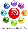 Colored buttons with wifi - stock photo