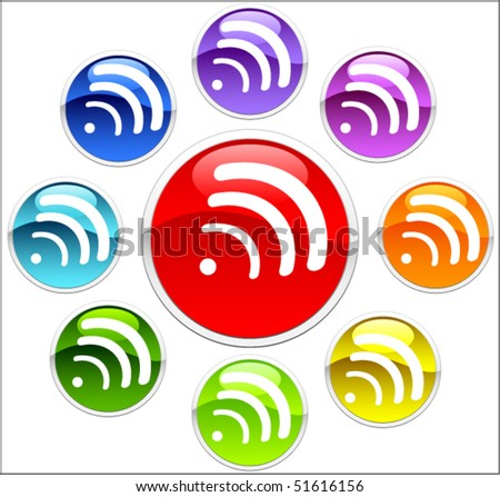 Colored buttons with wifi - stock vector