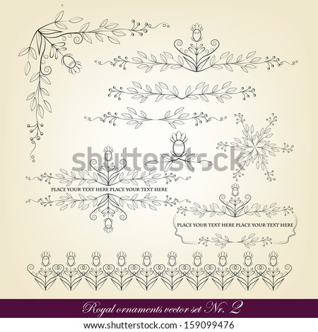 Colored calligraphic design elements - stock vector