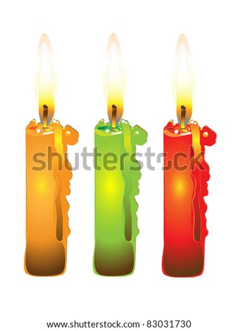 Colored candles - stock vector