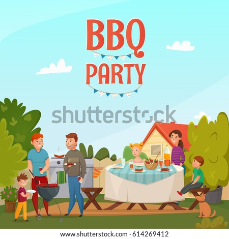 Family Bbq Stock Images RoyaltyFree Images Vectors Shutterstock - Backyard bbq party cartoon