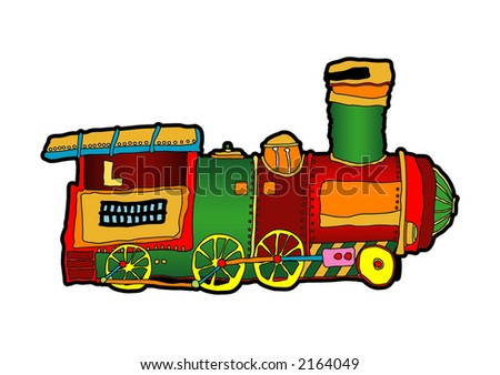 colored cartoon illustration of a locomotive at white background