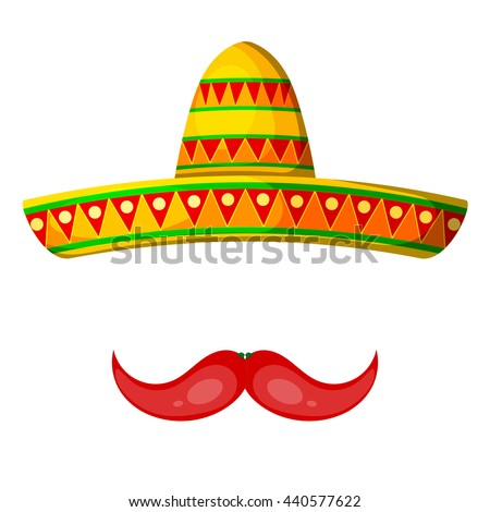 Colored Cartoon sombrero and pepper mustache on a white background. Isolate. Hat - 