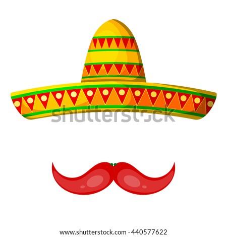 colored cartoon sombrero pepper mustache on stock photo photo rh shutterstock com sombrero cartoon images sombrero cartoon character