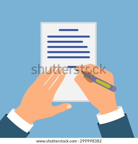 Colored Cartooned Hand Signing Contract Graphic Design on Blue Background. - stock vector