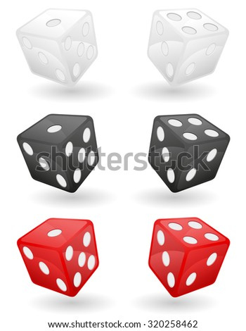 colored casino dice vector illustration isolated on white background - stock vector