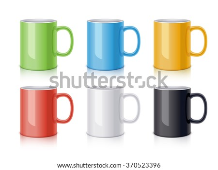 Colored ceramic mugs for coffee or tea. Realistic vector illustration - stock vector