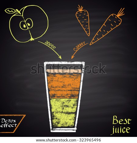 Colored chalk  drawn illustration of juice with apple and carrot. Infographic. Fitness theme. Best juice series. - stock vector