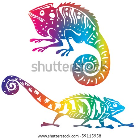 Colored chameleon (used Mesh and Clipping Mask) - stock vector