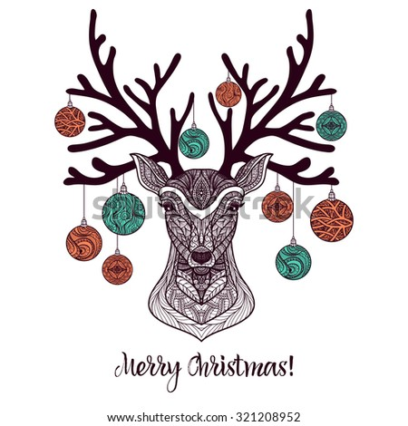 Colored christmas deer with ornament and decoration balls on antlers vector illustration - stock vector