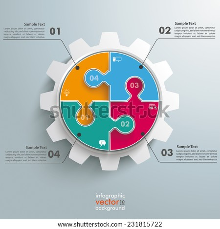 Colored circle puzzle with gear infogrpahic on the grey background. Eps 10 vector file. - stock vector