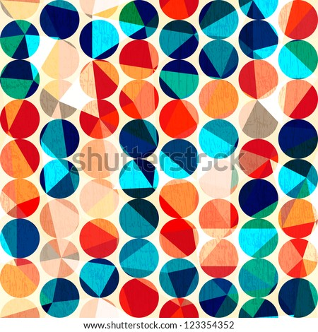 colored circles seamless pattern with grunge and glass effect - stock vector