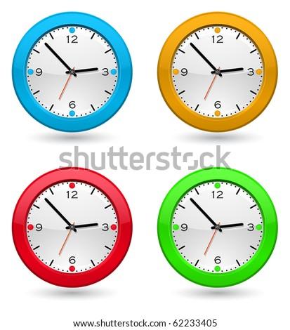 colored clock icon - stock vector