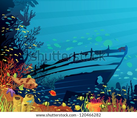 Colored coral reef with fish, puffer and silhouette of sunken ship on blue sea background - stock vector