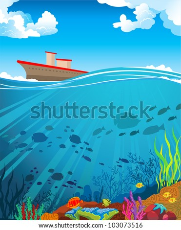 Colored coral reef with  silhouette school of fish and ship on a cloudy blue sky - stock vector