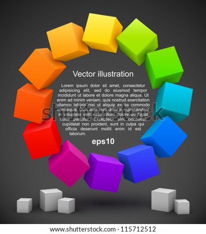 Colored cubes 3D. - stock vector
