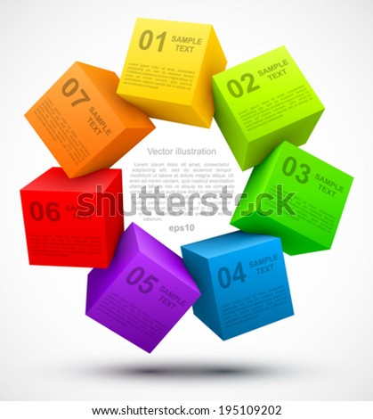 Colored cubes 3D with options. - stock vector