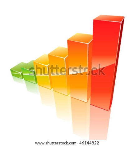 Colored 3d graph growing up - stock vector