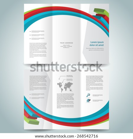 colored 3d lines brochure design template folder leaflet white background - stock vector