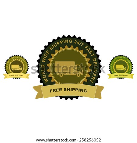 """Colored delivery guarantee badges or signs. Truck with """"Free shipping"""" text. - stock vector"""
