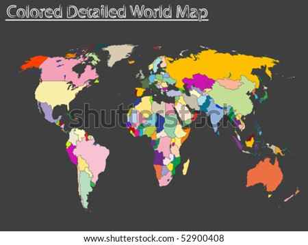 colored detailed world map, abstract vector art illustration