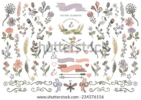 Colored  Doodles flower,branshes,arrow,ribbon,decor elements set for hand sketced logo.Easy to make design templates,invitations,logo.For weddings,Valentine day,holiday,birthday,Easter.Vector - stock vector