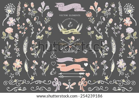 Colored  Doodles flower,brunshes,arrow,ribbon,decor elements set for hand sketced logo.Easy to make design templates,invitations,logo.For weddings,Valentine day,holiday,birthday,Easter.Vector - stock vector