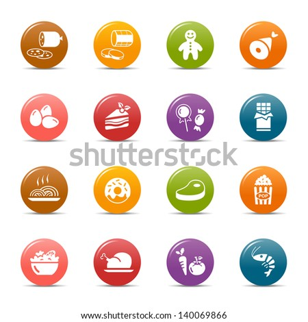 Colored Dots - Food and restaurant icons - stock vector