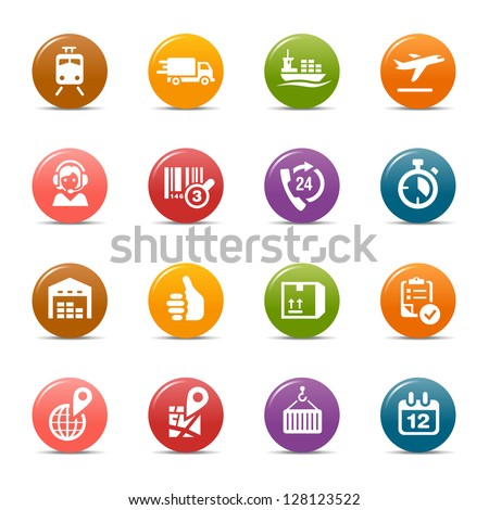Colored Dots - Logistic and Shipping icons - stock vector