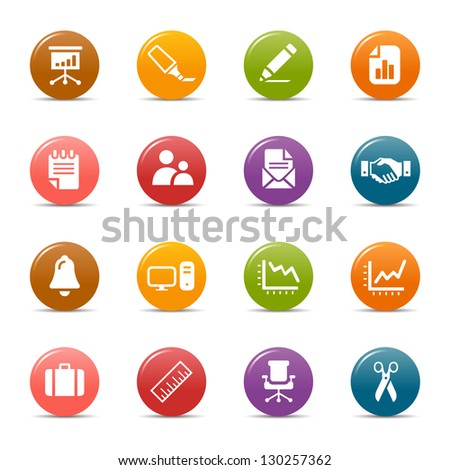 Colored Dots - Office and Business icons - stock vector