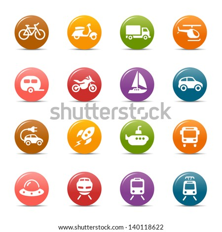 Colored Dots - Transportation icons - stock vector