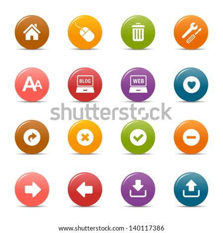 Colored Dots - Website and Internet Icons - stock vector