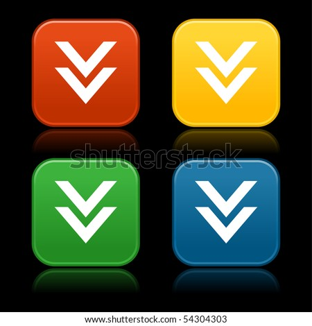 Colored download web 2.0 buttons with arrow symbol. Rounded square shapes with reflection on black background - stock vector
