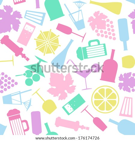 colored drinks vector seamless pattern - stock vector