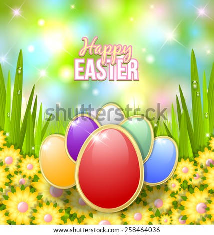 Colored Easter eggs in the morning grass with flowers - stock vector
