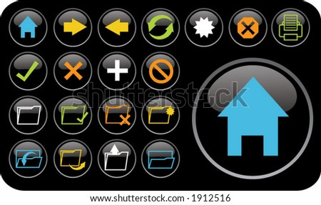 colored email/internet icons - stock vector