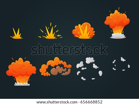 Colored explosion animation icon set with explosion process step by step on black background vector illustration