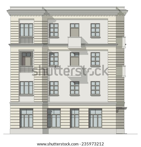Colored facade of real historic multistory building with balconies on white background, pastel colors. - stock vector