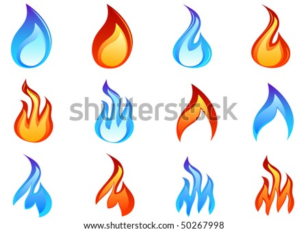 Colored fire set - stock vector