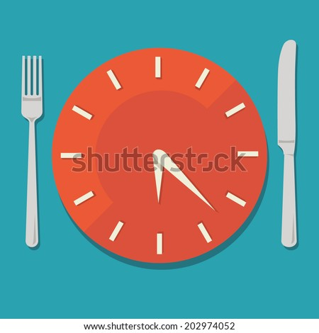 Colored flat design vector illustration concept for dieting, planned way of eating, nutrition regime - stock vector