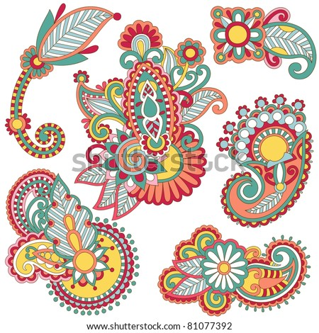 colored floral ornamental decoration design element. Ukrainian traditional style. - stock vector