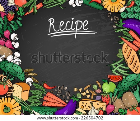 Colored Food Recipe Ingredients Such as Vegetables  Bread and Spices Background on Black Chalkboard - stock vector