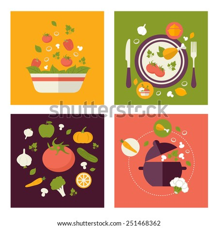 Colored fresh healthy food flat design with fruits, vegetables, vegan and cooking concepts modern style - stock vector