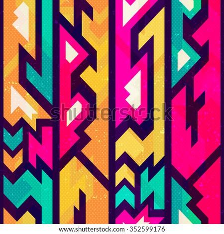 Colored futurist seamless pattern. - stock vector