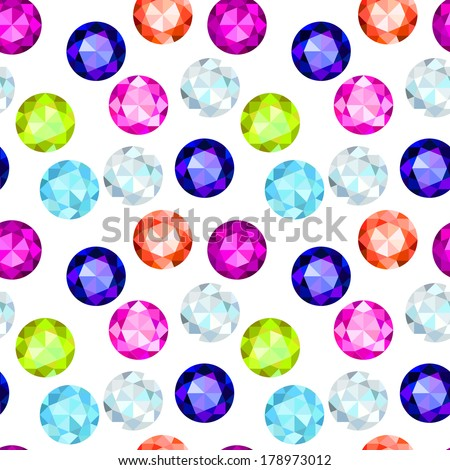 colored gemstone seamless pattern. EPS 10. No transparency. No gradients. - stock vector